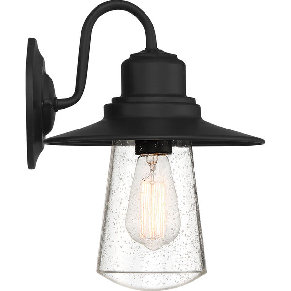 Radford Matte Black 10-Inch One-Light Outdoor Wall Sconce with Seedy Glass, image 5