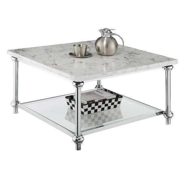 Roman II Faux White Marble Chrome Square Coffee Table, image 4