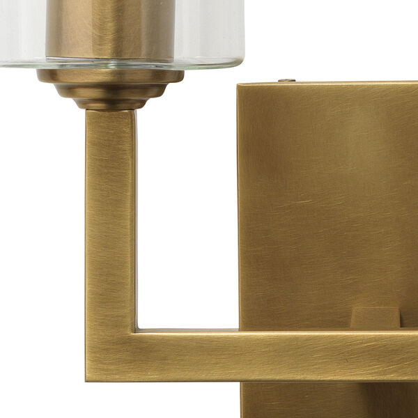 Linear Antique Brass and Clear Glass Two-Light Wall Sconce, image 5