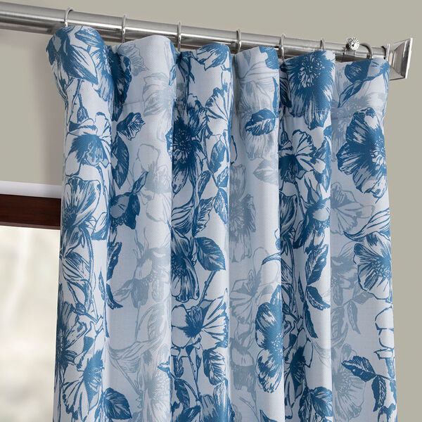 Blue Printed 96 x 50-Inch Polyester Blackout Curtain Single Panel, image 2