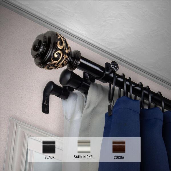 Eleanor Black 48-Inch Triple Curtain Rod, image 2