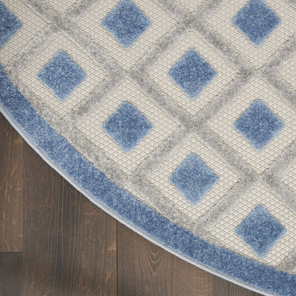 Aloha Blue and Gray 5 Ft. 3 In. x 5 Ft. 3 In. Round Indoor/Outdoor Area Rug, image 4