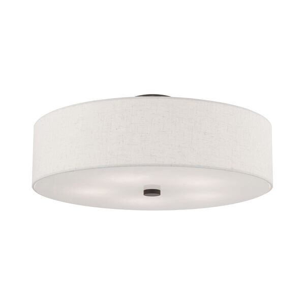 Meridian English Bronze 22-Inch Five-Light Ceiling Mount with Hand Crafted Oatmeal Hardback Shade, image 3