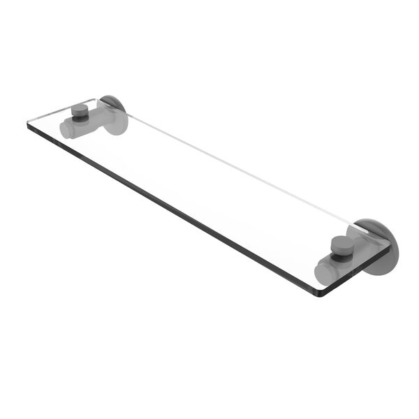 Tribecca Matte Gray 16-Inch Glass Vanity Shelf with Beveled Edges, image 1