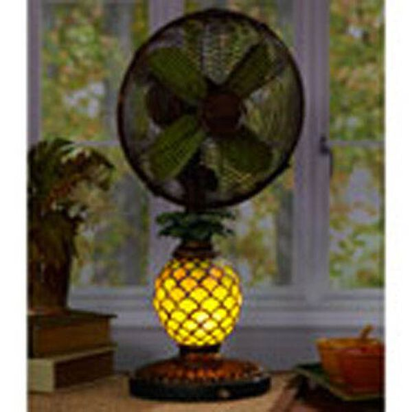 Antique Green / Brown 10 Inch Table Fan Mosaic Glass Pineapple, image 2
