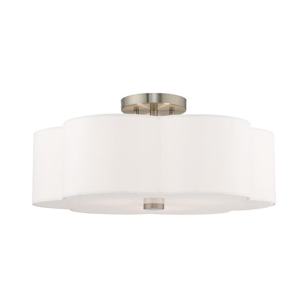 Chelsea Brushed Nickel 18-Inch Three-Light Ceiling Mount with Hand Crafted Off-White Hardback Shade, image 1