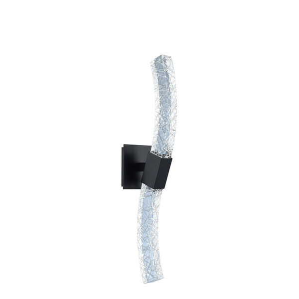 Athena Matte Black with Polished Nickel Five-Inch LED Wall Sconce with Firenze Crystal, image 1