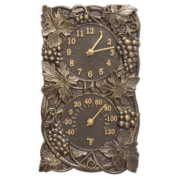 Grapevine French Bronze Indoor Outdoor Wall Clock and Thermometer, image 1