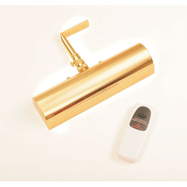 Slimline Polished Brass 8 Inch Cordless LED Remote Control Picture Light, image 1