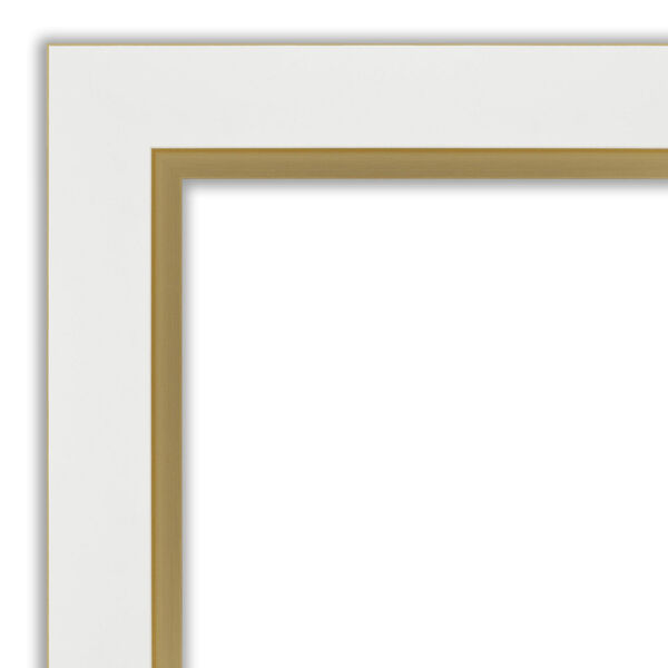 Eva White and Gold 33W X 27H-Inch Bathroom Vanity Wall Mirror, image 2