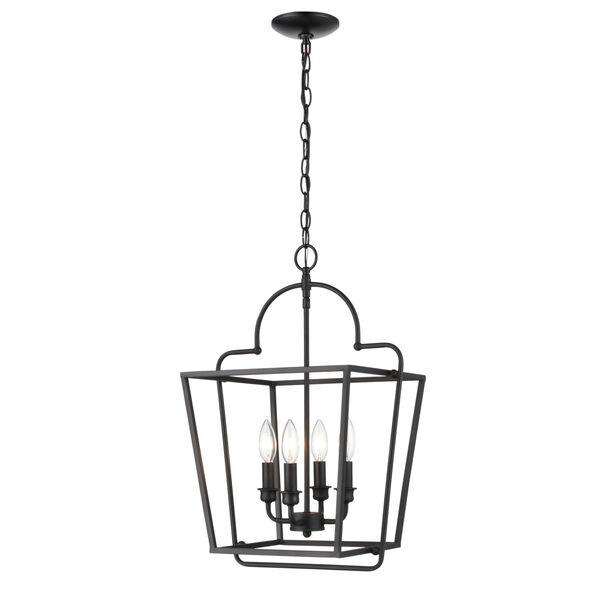 Matte Black 15-Inch Four-Light Pendant, image 1