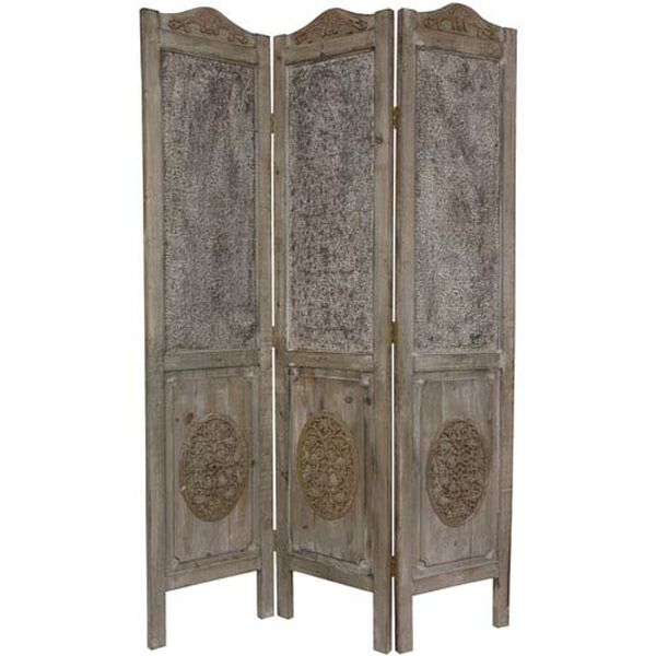 Six Ft. Tall Closed Mesh Antique Design Room Divider, Width - 16.5 Inches, image 1