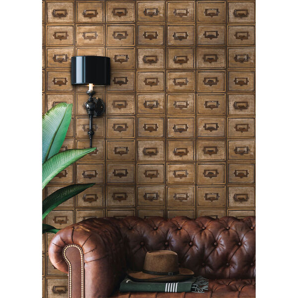 NextWall Library Card Catalog Peel and Stick Wallpaper, image 4
