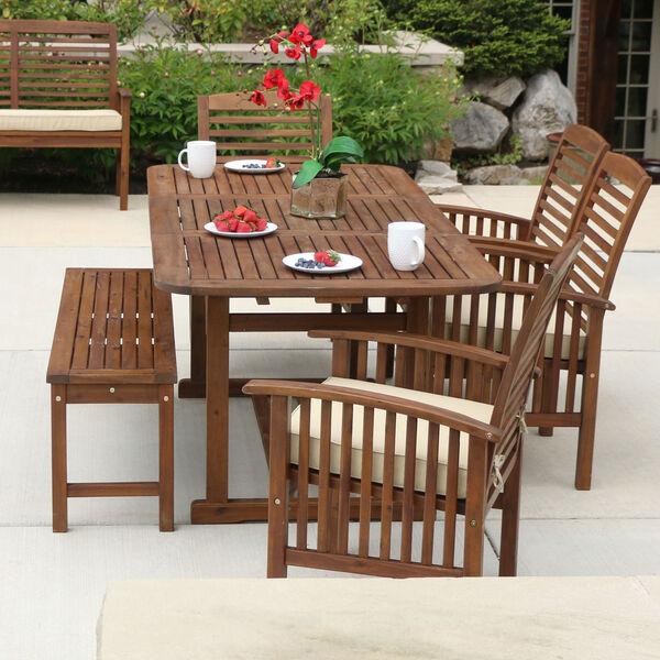 6-Piece Dark Brown Acacia Patio Dining Set with Cushions, image 3