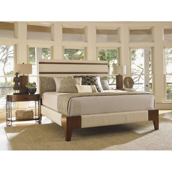 Island Fusion Brown and Ivory Mandarin Upholstered Panel Bed, image 2