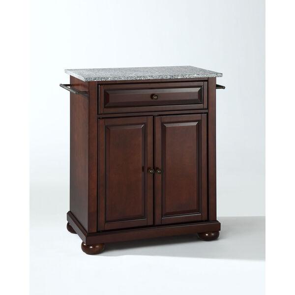 Alexandria Solid Granite Top Portable Kitchen Island in Vintage Mahogany Finish, image 1
