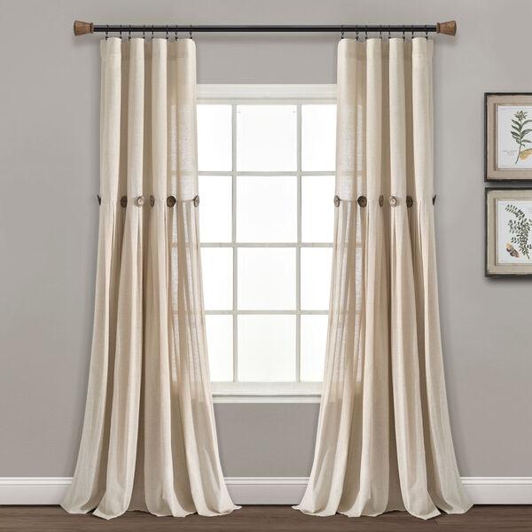 Linen Button Cream 40 x 84 In. Single Window Curtain Panel, image 1