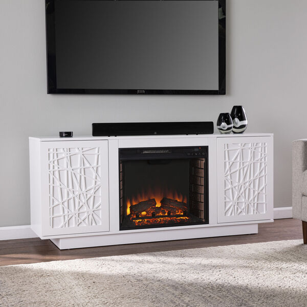 Delgrave White Electric Fireplace with Media Storage, image 3