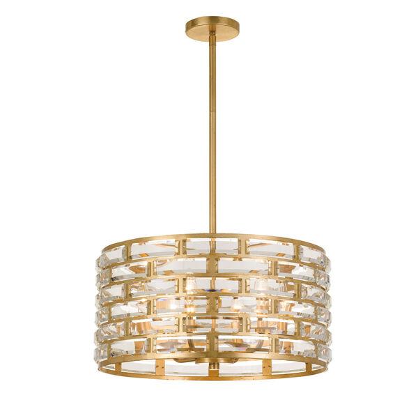Meridian Six-Light Antique Gold Chandelier, image 1