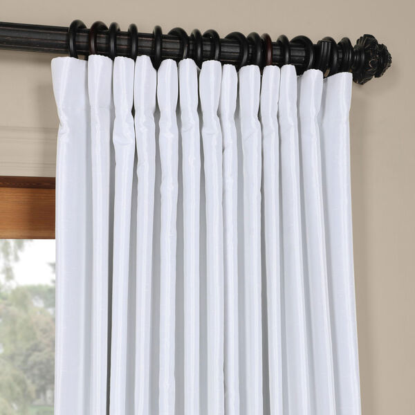 White Ice 96 x 100 In. Double Wide Vintage Textured Faux Dupioni Curtain Single Panel, image 2
