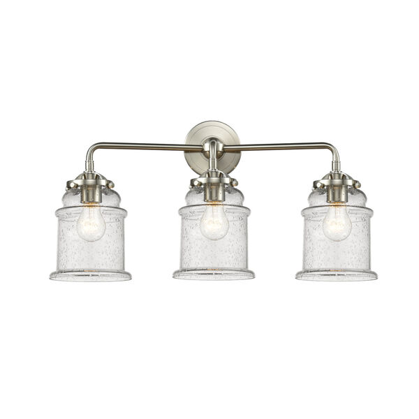 Nouveau Brushed Satin Nickel 24-Inch Three-Light Bath Vanity with Seedy Glass Shade, image 1