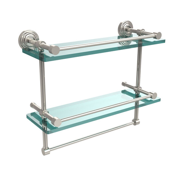 16 Inch Gallery Double Glass Shelf with Towel Bar, Polished Nickel, image 1