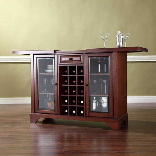 LaFayette Sliding Top Bar Cabinet in Vintage Mahogany Finish, image 2