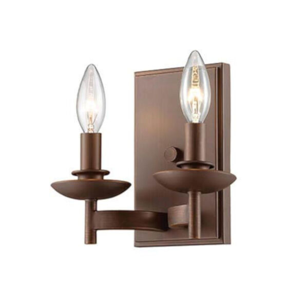 Ava Rubbed Bronze Two-Light Wall Sconce, image 1