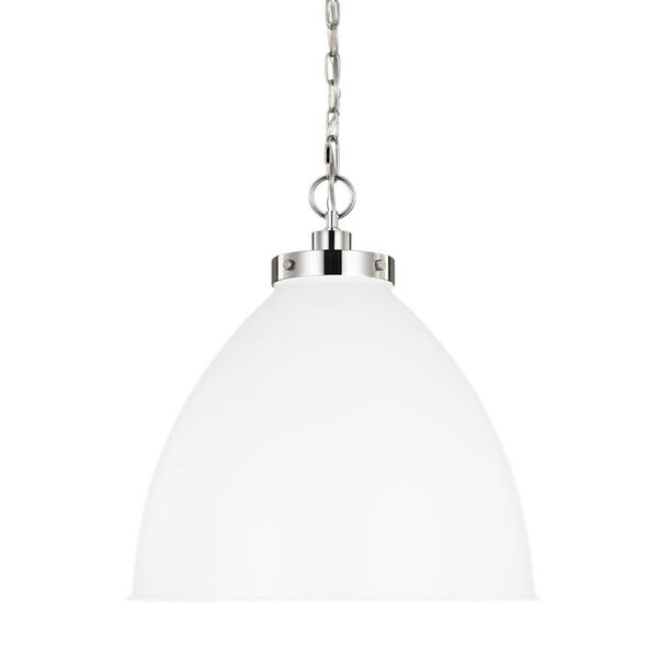 Wellfleet Matte White and Silver 18-Inch One-Light Pendant, image 4