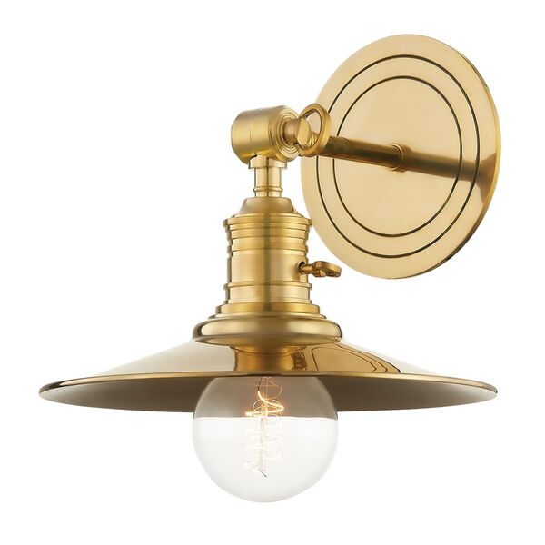 Garden City Aged Brass One-Light Wall Sconce, image 1