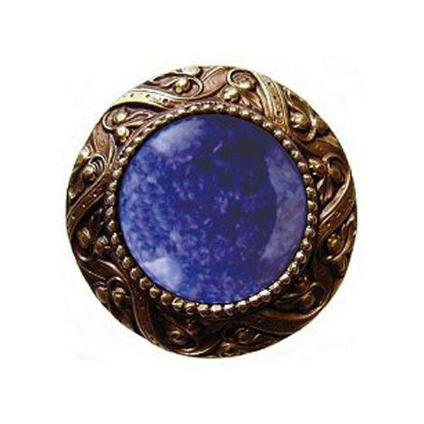 Brass Victorian Jeweled Knob with Blue Sodalite Stone , image 1