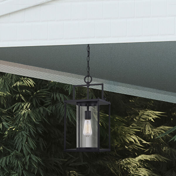 Garrett Matte Black 9-Inch One-Light Outdoor Hanging Lantern with Clear Glass, image 7