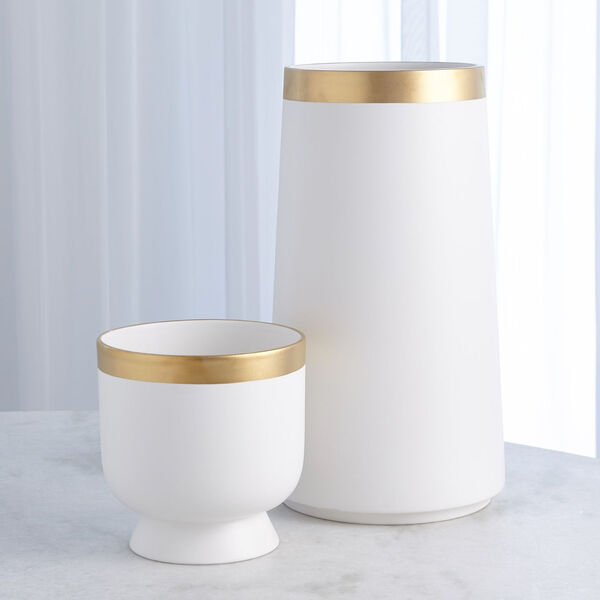 Studio A Home White Large Modern Gold Banded Vase, image 2