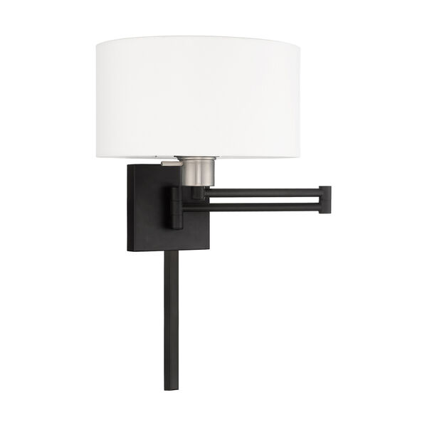 Swing Arm Wall Lamps Black 11-Inch One-Light Swing Arm Wall Lamp with Hand Crafted Off-White Hardback Shade, image 2