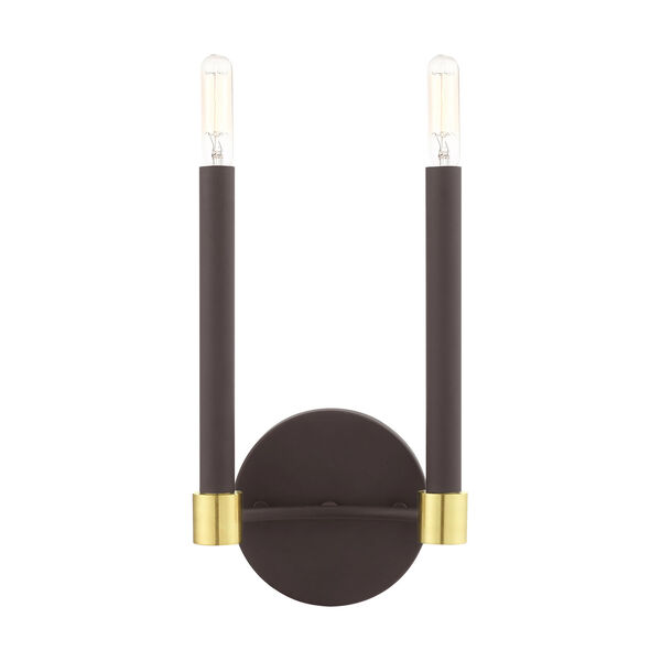 Karlstad Bronze and Satin Brass Two-Light  Wall Sconce, image 6