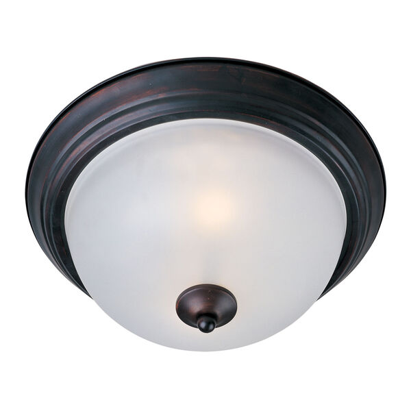 Essentials - 584X 11-Inch Oil Rubbed Bronze Two-Light Flush Mount with Glass Shade, image 1