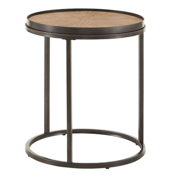 Cliff Gray Oak Round End Table, image 1