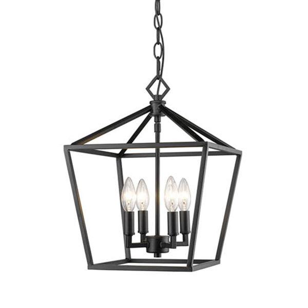 Kenwood Matte Black 12-Inch Four-Light Lantern Pendant, image 1