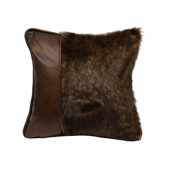 Faux Fur and Faux Leather 18 x 18 In. Throw Pillow, image 1