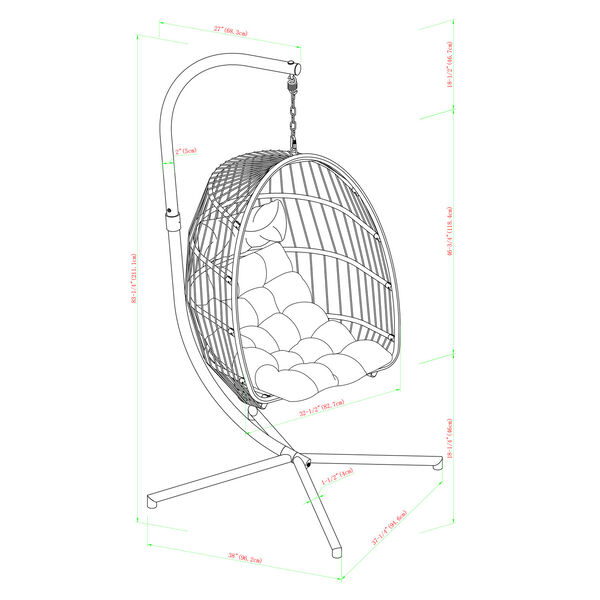Gray and Teal Outdoor Swing Egg Chair with Stand, image 6