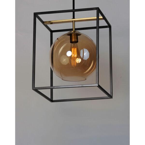 Fluid Black and Satin Brass 15-Inch LED Single Pendant, image 4