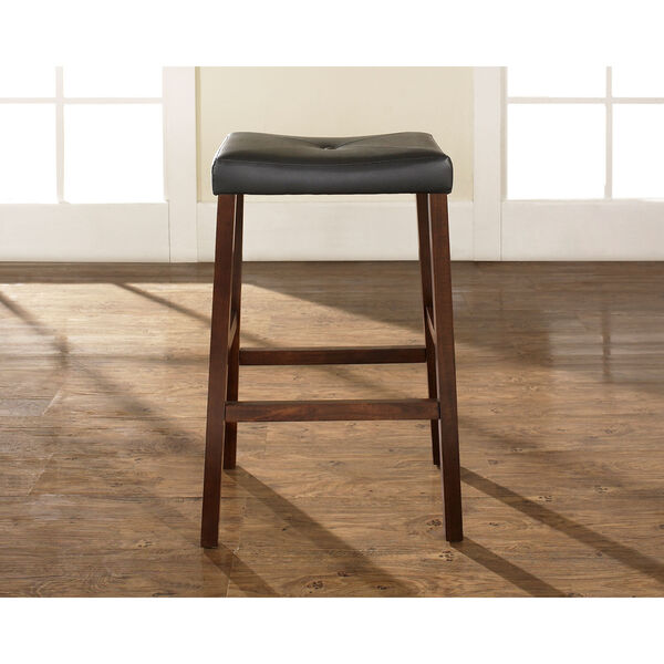 Upholstered Saddle Seat Bar Stool in Vintage Mahogany Finish with 29 Inch Seat Height- Set of Two, image 4