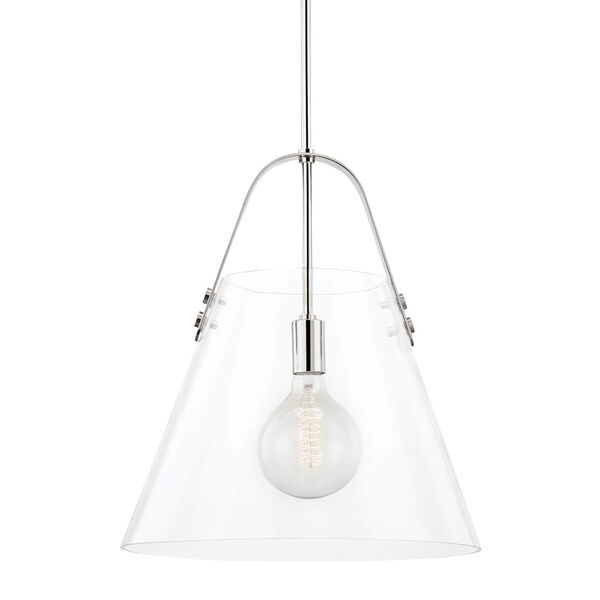 Karin Polished Nickel One-Light Extra Large Pendant with Clear Glass, image 1