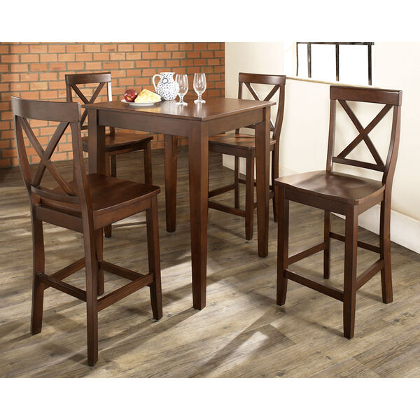 Five Piece Pub Dining Set with Tapered Leg and X-Back Stools in Vintage Mahogany Finish, image 3