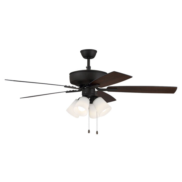 Pro Plus Espresso 52-Inch Four-Light Ceiling Fan with White Frost Bell Shade, image 5
