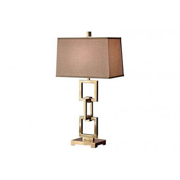 Antique Brass Square Link Lamp, image 1