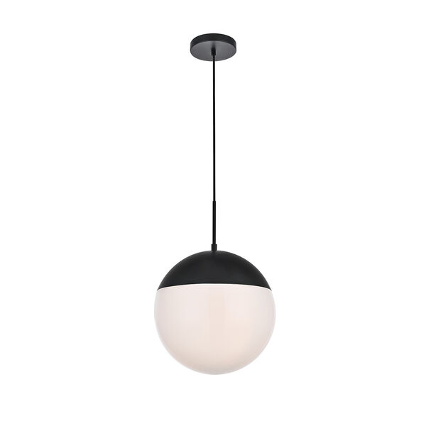 Eclipse Black and Frosted White 14-Inch One-Light Pendant, image 3