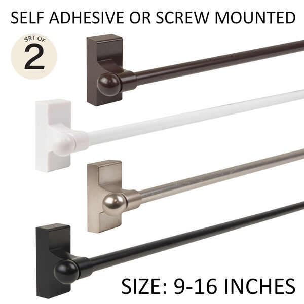 Brown 9-16 Inch Self-Adhesive Wall Mounted Rod, Set of 2, image 1