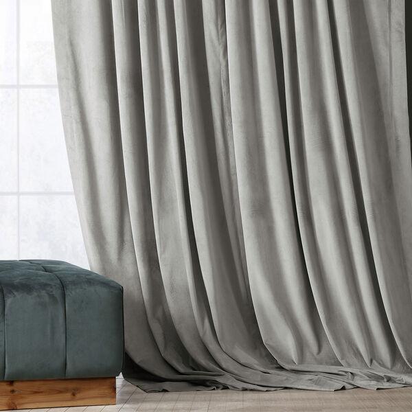 Signature Silver Grey Blackout Velvet Pole Pocket Single Panel Curtain, 50 X 108, image 1