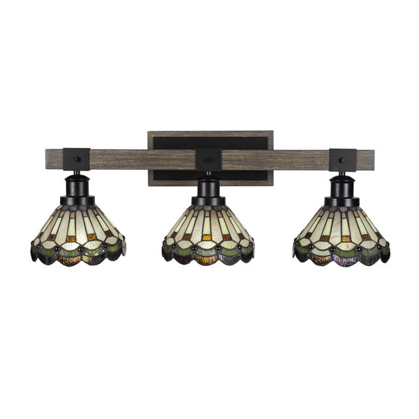 Tacoma Matte Black and Distressed Wood-lock Metal 28-Inch Three-Light Bath Light with Cyprus Art Glass Shade, image 1